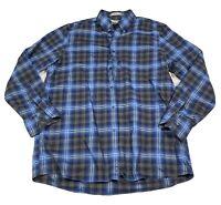 Nordstroms Smartcare Long Sleeve Casual Regular Fit Plaid Blue Shirt In XL