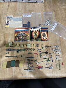 lot of Gi Joe 1980's accessories weapons helmet backpacks pistol File Cards