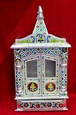 Wooden Mdf White Metal Temple Mandir Pooja Ghar Mandapam For Worship Bc-47