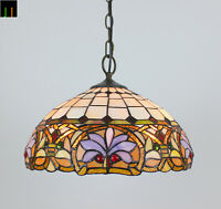 """Free Postage 16"""" Tiffany Victorian Ivory Stained Glass Pendant Light Home"""