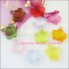 8Pcs Mixed Plastic Acrylic Clear Crown Charms Pendants 24x26mm