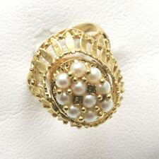 Vintage 14k yellow gold white Pearl Antique Ring Oval Estate