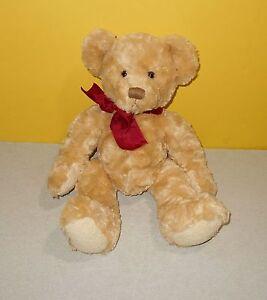 "14"" Russ Spencer The Bear Tan Swirl Bean Stuffed Bean Plushie Animal #24093"