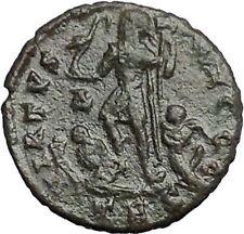 THEODOSIUS I the Great 383AD Rare Ancient Roman Coin Galley Labarum  i54861