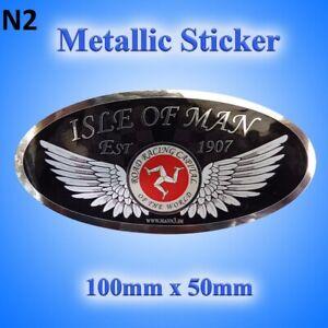 Isle of Man Road Racing Oval Black Metallic Sticker 100mm x 50mm