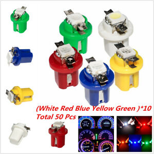 T5 5050 B8.4d 1-smd LED Instrument Panel Lights Wedge Car Dashboard Bulbs 50 pcs