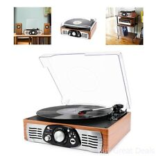 Portable Vintage Look Vinyl Record Player Stereo Turntable w/ Speaker MP3 Retro