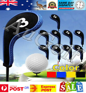 Set of 10 Golf Club Iron Head Covers - 3 colours - Long Neck with Zip