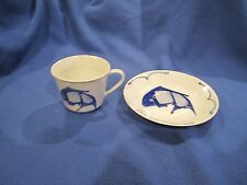 Vintage Koi Catfish Blue and White Cup & Saucer Made in China