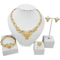 Women Hugs & Kisses Xo Complete Necklace Ring Bracelet Earrings set Gold Plated