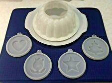 Vintage Tupperware Jel-N-Serve Jello White Mold 4 Designs Tray And Lid