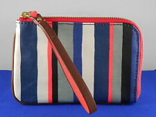 Fossil Stripe Striped MIA L Zip Coated Canvas Wallet Wristlet SWL1712 993 $40
