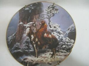 """Hamilton Collection 1992 Mystic Warrior 8"""" plate Indian on Horse w/hanger"""