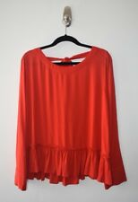 NEW! Anthropologie Cloth & Stone Red Ruffle Top Shirt Scoop Tie Back Size M