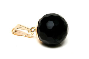 9ct Gold Black Onyx 8mm Ball necklace Pendant no chain Gift Boxed Made in UK
