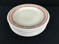 "Buffalo China Kenmore Red Set Of 5 Restaurant Ware 8.25"" Plates Vintage USA"