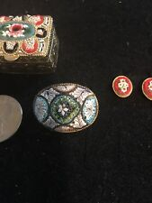 Antique Vintage Italian Multi Colored Floral Micro Mosaic Lot Of 3