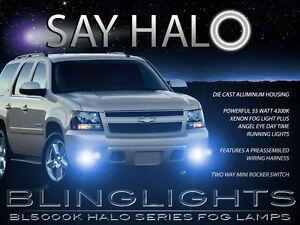 White Halo Angel Eye Fog Lamps Driving Lights Kit for 2007-2014 GMC Yukon