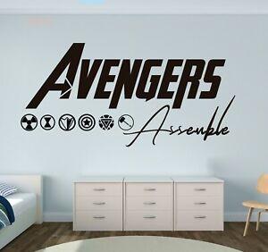 Avengers Assemble Sticker Vinyl Black Decal Wall Lettering CUSTOM COLORS MS75
