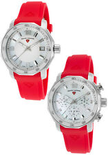 Swiss Legend White Mother of Pearl Red Silicone Strap Watch Set