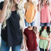 Women Chiffon Short Sleeve Shirt Casual Loose Vest Blouse Casual Pullover Tops V