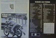 SUZUKI 380 THREE Motorcycle Road Test Article 1972