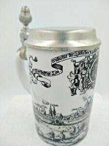 Vintage Kaiser Porcelain Beer Stein AK (Alboth Kaiser) Pewter Lid