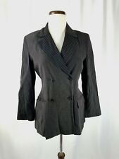Kookai Black Viscose Double Breasted Pinstriped Blazer Jacket France Sz 40