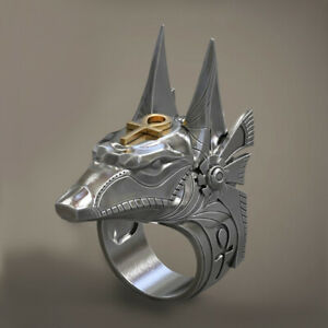 Fashion Men Punk Anubis Rings Stainless Steel Party Hip Hop Jewelry Band Gift