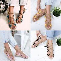 Womens Ladies Flat Espadrille Lace Tie up Sandals Platform Summer Shoes US