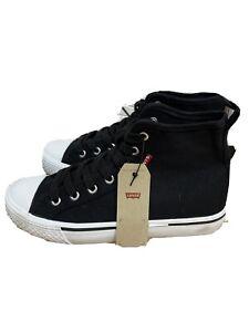 New Women's Levi's High Top Black Trainer Canvas Shoes Uk 4