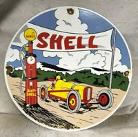 "VINTAGE 11.75"" SHELL GASOLINE PORCELAIN SIGN GAS & OIL SCENIC"
