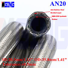AN20 -20AN AN -20  Stainless Steel Braided Oil Fuel Gas Line Hose Silver 1FT