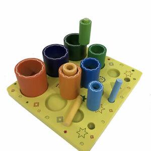 Nesting 3D Cylinders on a Board Kids Childrens Cognitive Development