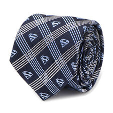 DC Comics Superman Shield Navy Plaid Mens Tie, Officially Licensed