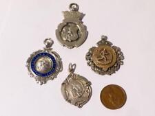 4 antique argent massif fob Médailles Football PRIX 1930s 1940s Posh Animaux #F5