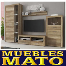 MUEBLE DE SALON RUSTICO TEXAS 3 - LIBRERIA TV SALA COMEDOR VITRINA CON LED