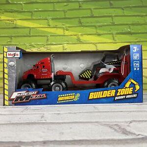 Maisto Fresh Metal Builder Zone Quarry Monster Truck With Street Skid - Red