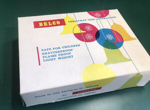 Vintage retro Belco Christmas Decorations, Shatterproof, Used, In Box
