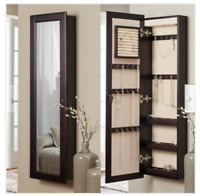 Lighted Wall Mount Locking Jewelry Armoire Espresso Mirror Cabinet Organizer NEW
