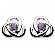 New Silver Irish Celtic Trinity Knot Amethyst Stud Earrings Celtic Jewellery