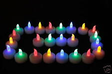 20 QUALITY SAFE COLOURED LED BATTERY CANDLES LIGHTS INCLUDES BATTERIES FREE P&P
