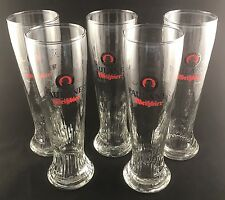 "Set Of 5  PAULANER MUNCHEN Weissbier 0.5L Swirled Beer Glass 10"" PILSNER Germany"