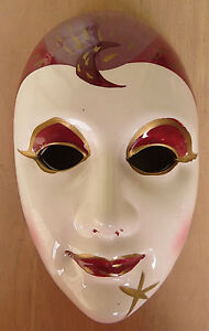 Porcelain Hand Painted Face Mask Mardi Gras Gypsy Clown Jester art deco