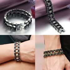 Men's Motorcycle Biker Chain Bracelet Heavy Silver Stainless Steel 8 Inch Bangle