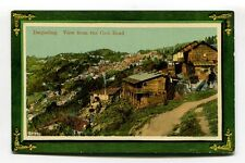Darjeeling - view from the Cart Road - hillside, shacks - old India postcard