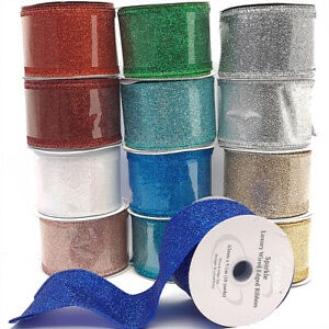 9.1m 63mm Glitter Sparkle Luxury Wired Edge Ribbon for Crafts | Colour Choice