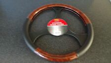 Car Steering Wheel Cover/Glove Universal Soft Grip Walnut/Black Faux Leather