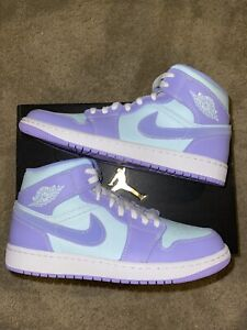 Jordan 1 Mid Purple Pulse Aqua Glacier Blue Sz 10.5 Brand New 100% Authentic!