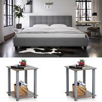 3 Piece Bedroom Set Furniture King Size Bed Headboard Modern 2 Nightstands Gray